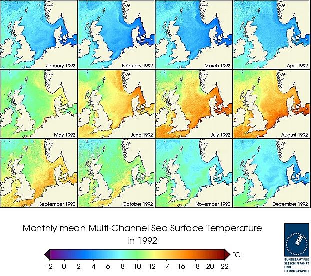 Monats-Temperaturkarten des Jahres 1992