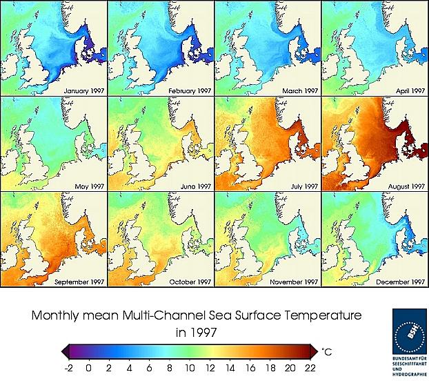 Monats-Temperaturkarten des Jahres 1997