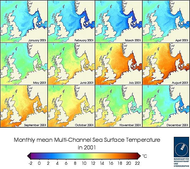 Monats-Temperaturkarten des Jahres 2001