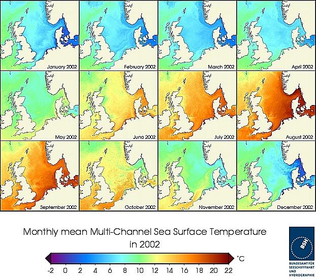 Monats-Temperaturkarten des Jahres 2002