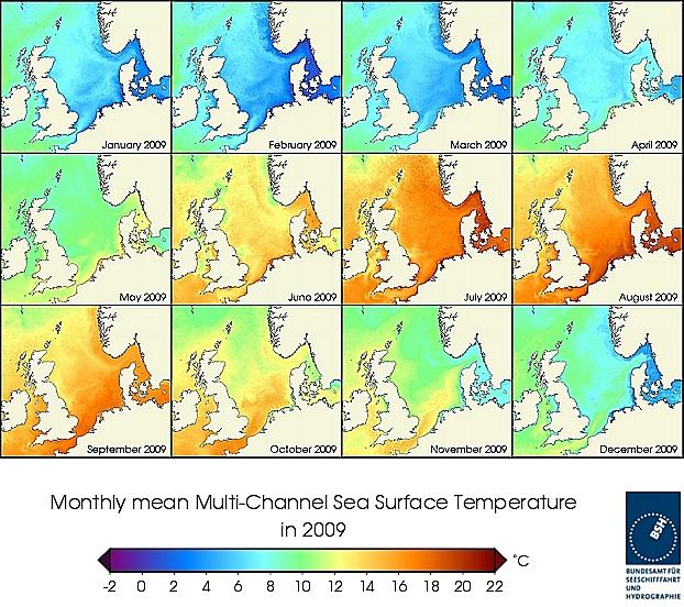 Monats-Temperaturkarten des Jahres 2009