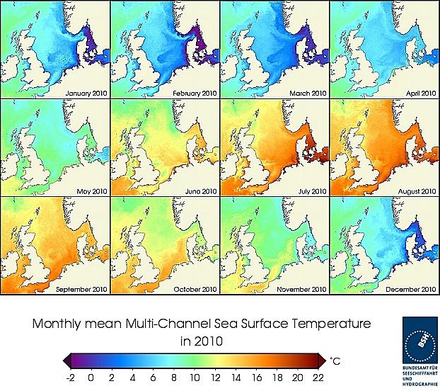 Monats-Temperaturkarten des Jahres 2010