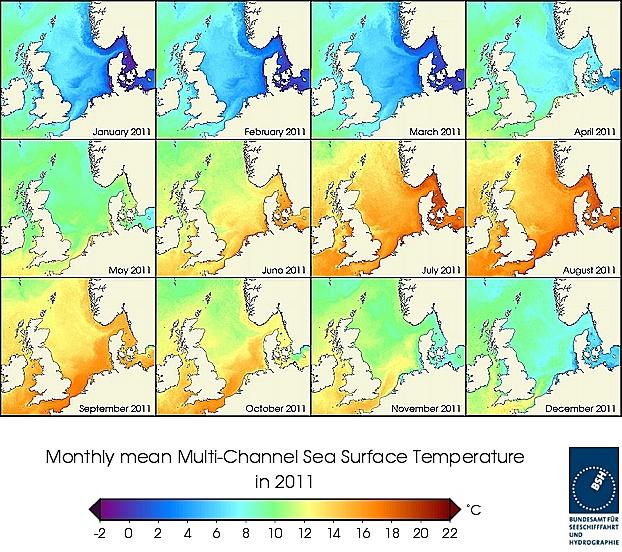 Monats-Temperaturkarten des Jahres 2011