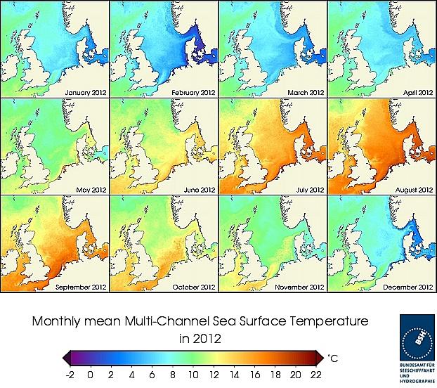 Monats-Temperaturkarten des Jahres 2012