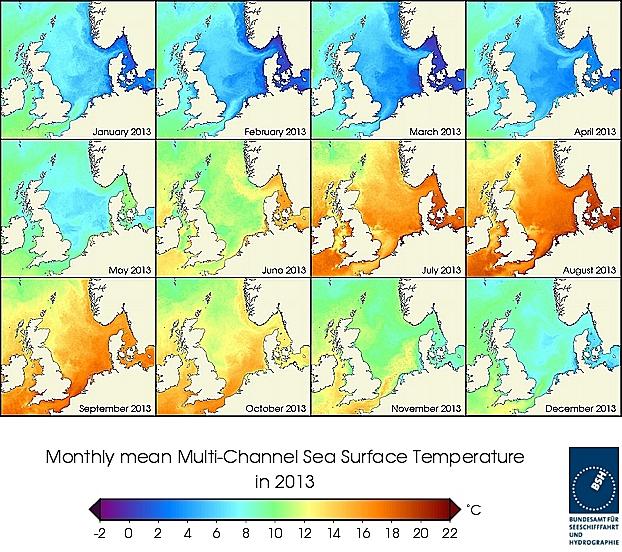 Monats-Temperaturkarten des Jahres 2013