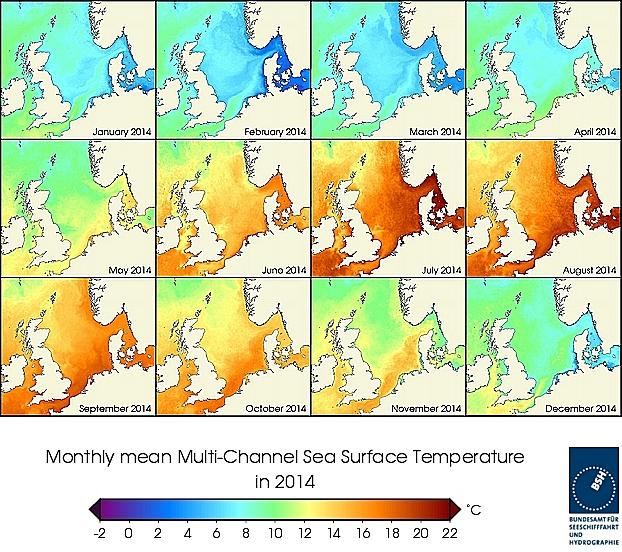 Monats-Temperaturkarten des Jahres 2014