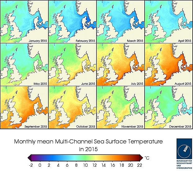 Monats-Temperaturkarten des Jahres 2015
