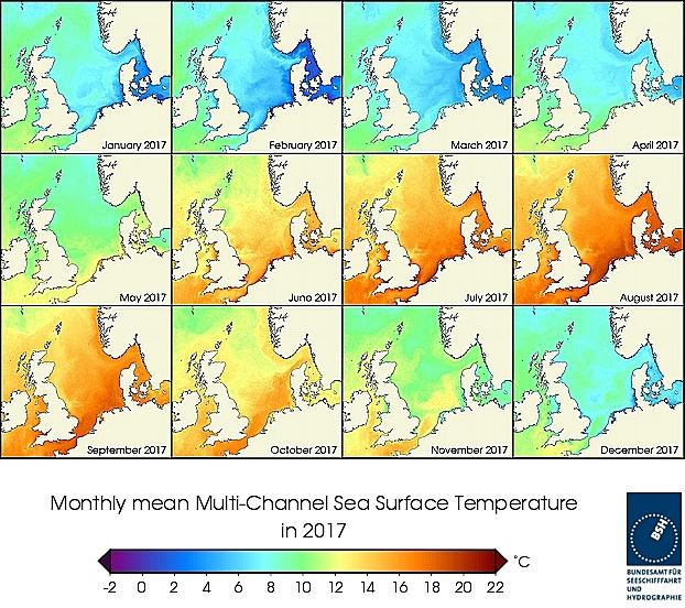 Monats-Temperaturkarten des Jahres 2017