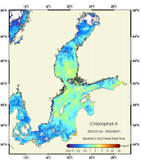 Chlorophyllverteilung in der Ostsee